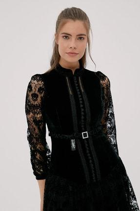 Kayra Kadın Siyah Hakim Yaka Dantelli Elbise  B20 23024 1