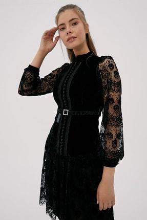 Kayra Kadın Siyah Hakim Yaka Dantelli Elbise  B20 23024 2