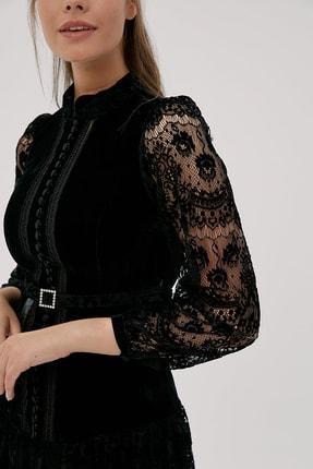 Kayra Kadın Siyah Hakim Yaka Dantelli Elbise  B20 23024 3