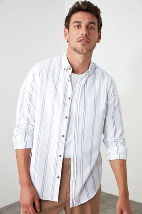 TRENDYOL MAN Beyaz Erkek Düğmeli Yaka İnce Çizgili Slim Fit Gömlek TMNSS20GO0092 3