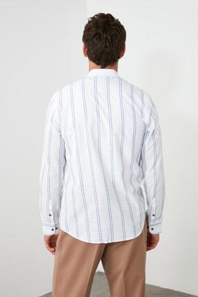 TRENDYOL MAN Beyaz Erkek Düğmeli Yaka İnce Çizgili Slim Fit Gömlek TMNSS20GO0092 4