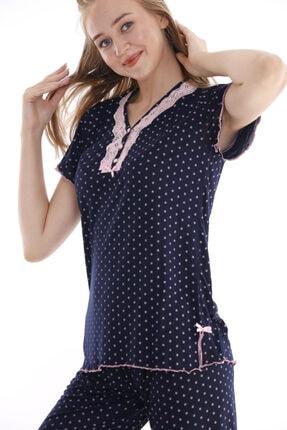Huq Moda Kadın Pembe Puantiyeli Lacivert Pijama Takımı Kısa Kol 2