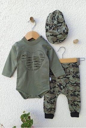 Hippıl Baby Erkek Bebek Yeşil Kamuflajlı Şapkalı Takımı 3-6 Ay 0