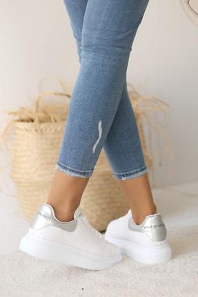 Pembe Potin Kadın Beyaz Gümüş Ayakkabı 2