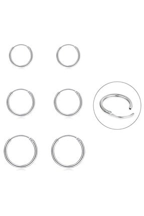 Onur Silver 925 Ayar Saf Gümüş Halka Küpe Seti 3'lü Hoop Earing Complete 12-14-16 Mm 0