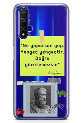 Lopard Huawei Nova 5t Kılıf Caps Aristophanes Arka Kapak Koruma Desenli Full Koruyucu 0