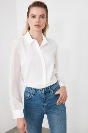TRENDYOLMİLLA Beyaz Basic Gömlek TWOAW20GO0116 1