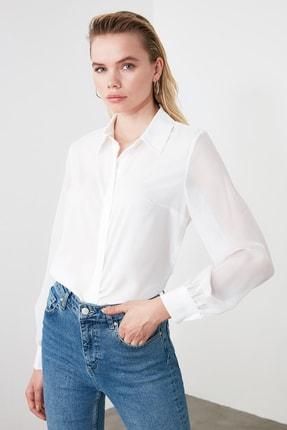 TRENDYOLMİLLA Beyaz Basic Gömlek TWOAW20GO0116 2