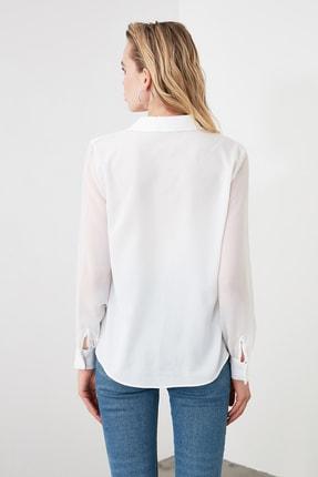 TRENDYOLMİLLA Beyaz Basic Gömlek TWOAW20GO0116 4