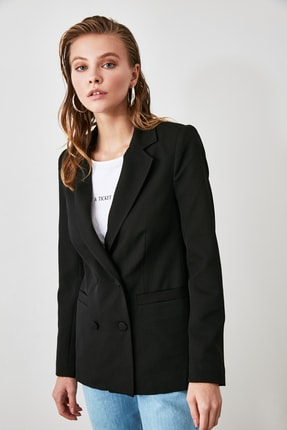 TRENDYOLMİLLA Siyah Cep Detaylı Blazer Ceket TWOAW20CE0051 1
