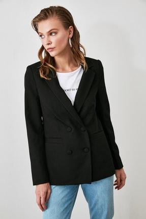 TRENDYOLMİLLA Siyah Cep Detaylı Blazer Ceket TWOAW20CE0051 2