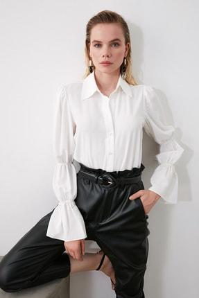 TRENDYOLMİLLA Beyaz Kol Detaylı Gömlek TWOAW20GO0428 0