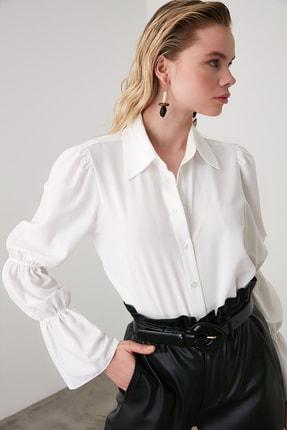 TRENDYOLMİLLA Beyaz Kol Detaylı Gömlek TWOAW20GO0428 2