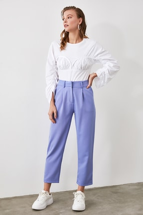 TRENDYOLMİLLA Mavi Kemer Detaylı Pantolon TWOSS19BB0468 1
