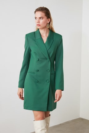 TRENDYOLMİLLA Yeşil Ceket Elbise TWOAW20EL0918 1