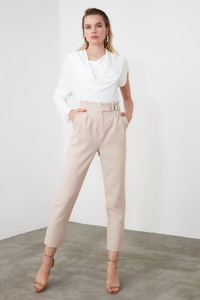 TRENDYOLMİLLA Taş Çıtçıtlı Havuç Pantolon TWOSS20PL0131 1