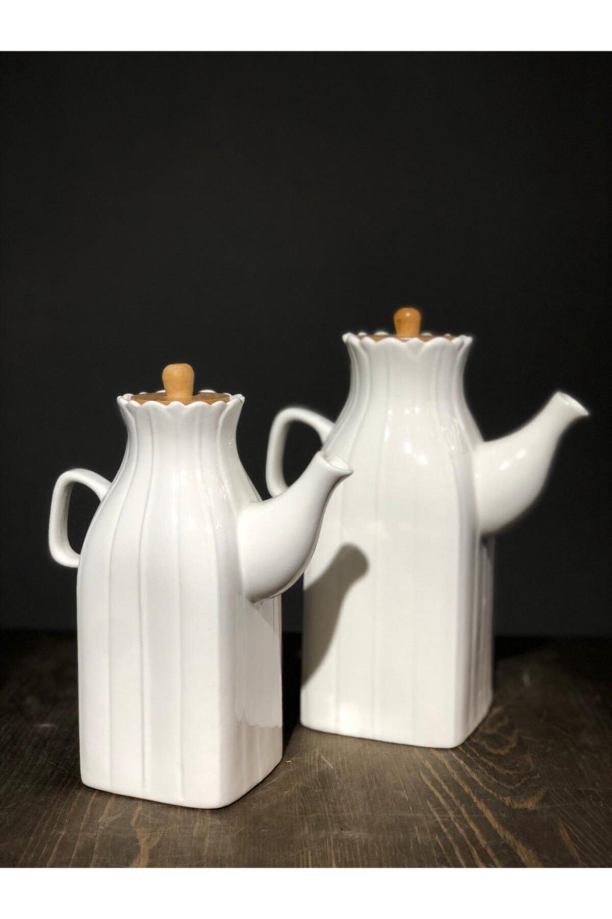 Household 2'li Bambu Kapaklı Porselen Yağlık & Sirkelik & Sürahi 22cm -19cm