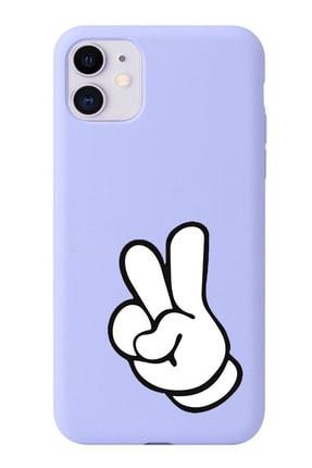 POFHİ Iphone Xs Max Iki Parmak Lila Premium Telefon Kılıfı 0