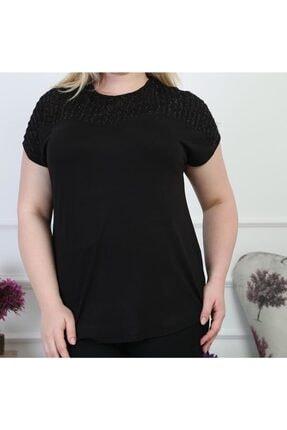 Şirin Butik Kadın Siyah Büyük Beden Sim Detaylı Bluz 1