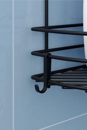 Teknotel Siyah Üç Katlı Kancalı Maxi Boy Banyo Köşe Rafı Mat Bk053h 1