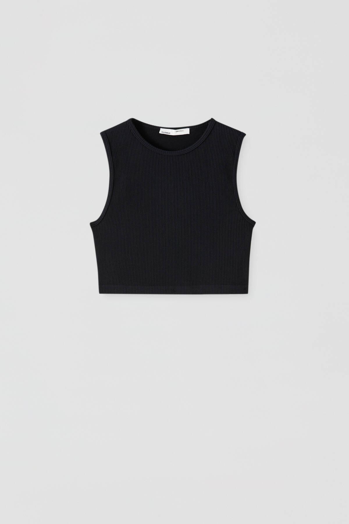 Pull & Bear Kadın Siyah Dikişsiz Kolsuz Basic Top 09247313 4
