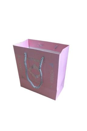 Eminonutoptanci Karton Ipsaplı Hediye Çantası Saray Desenli Gümüş 15x17x8 10 Adet Pembe 0