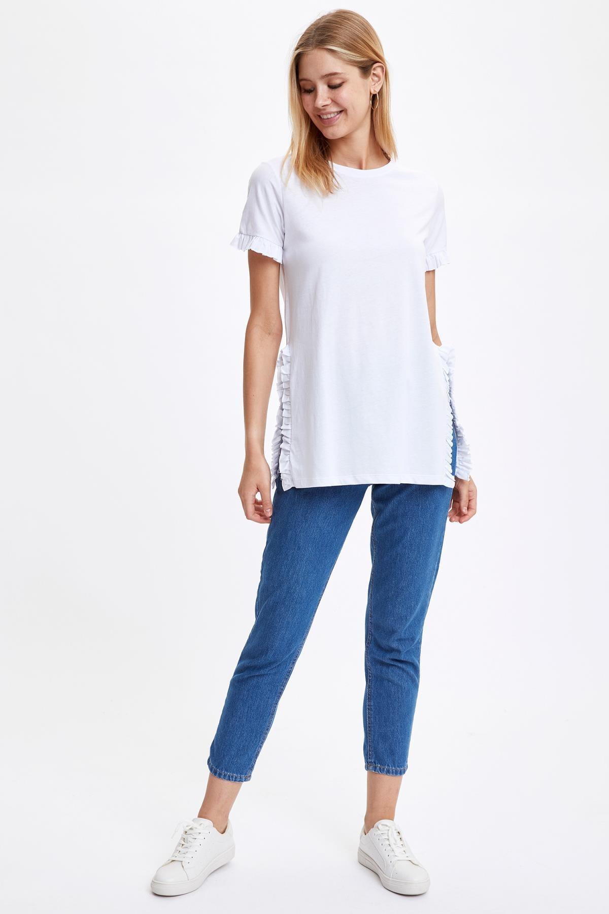 Defacto Kadın Beyaz-130-13 Kolları Ve Etek Ucu Volanlı Tunik S7705AZ20HS 1