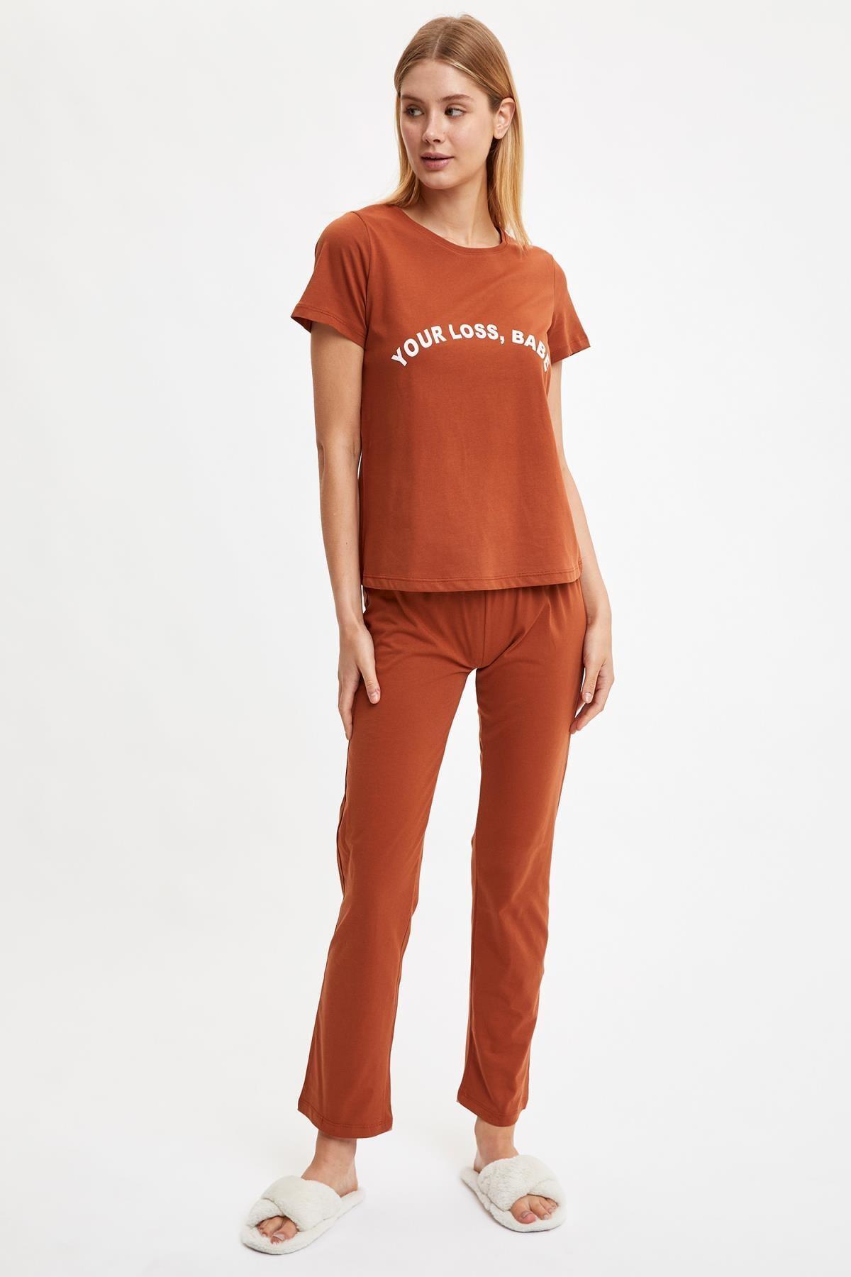 Defacto Yazı Baskılı Pijama Takımı 0