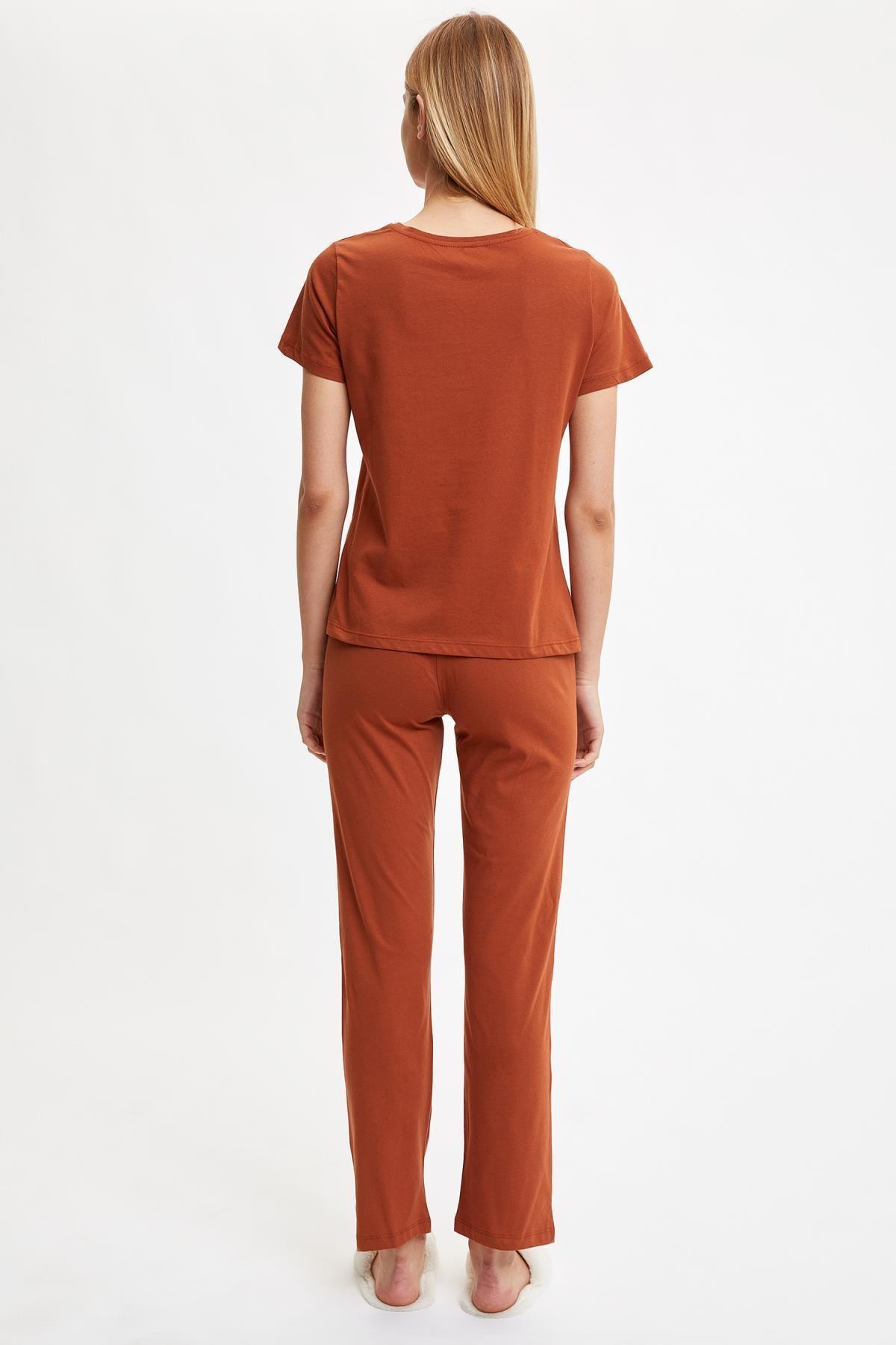 Defacto Yazı Baskılı Pijama Takımı 2