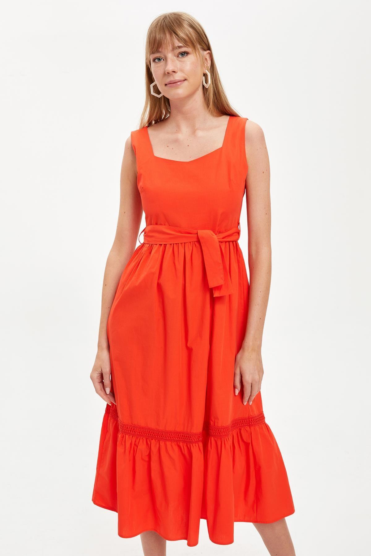 Defacto Kadın Red Kısa Kollu Regular Fit Pamuklu Elbise S8461AZ20HS 1