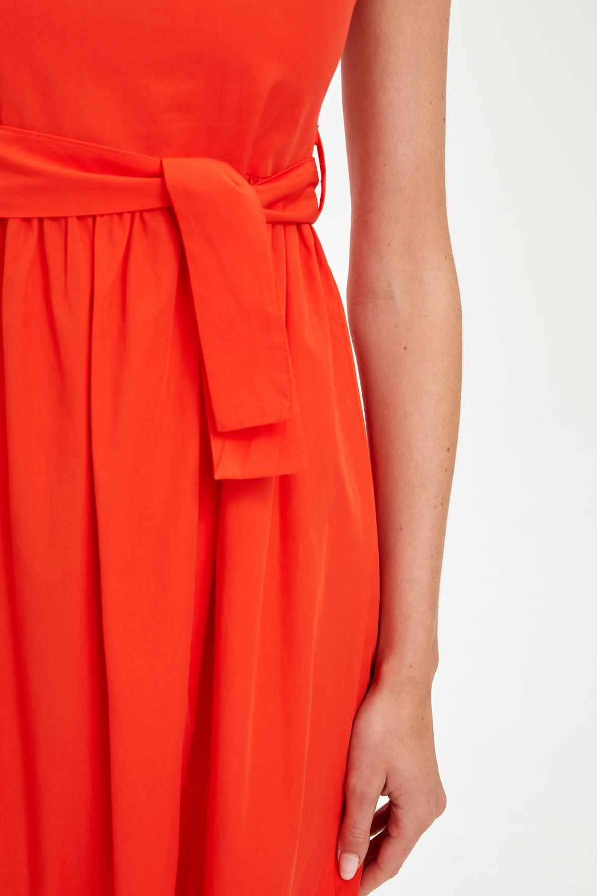 Defacto Kadın Red Kısa Kollu Regular Fit Pamuklu Elbise S8461AZ20HS 2