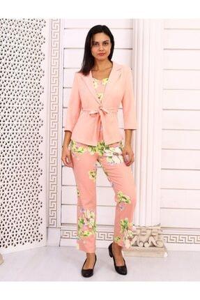 HOPANNİ Kadın Pembe Çiçek Desenli Ceket Takım 1