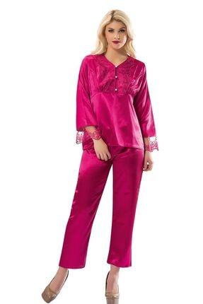 Sistina Kadın Pembe  Saten Çeyizlik Pijama Takım 1595 0