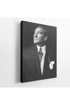 BASKIVAR Istikbal Göklerde Siyah Beyaz Atatürk Portre Dikey Kanvas Tablo - Tablo - Ata-102 1
