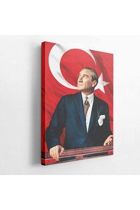 BASKIVAR Mustafa Kemal Atatürk Portresi Türk Bayraklı Dikey Kanvas Tablo - Tablo - Ata-027 1