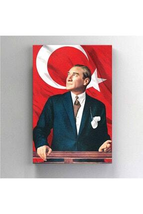 BASKIVAR Mustafa Kemal Atatürk Portresi Türk Bayraklı Dikey Kanvas Tablo - Tablo - Ata-027 2