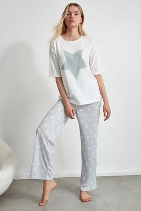 TRENDYOLMİLLA Yıldız Desenli Örme Pijama Takımı THMAW21PT0160 2