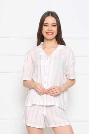 Vienetta Kadın Beyaz Kısa Kol Normal Beden Viskon Şort Pijama Takımı 1