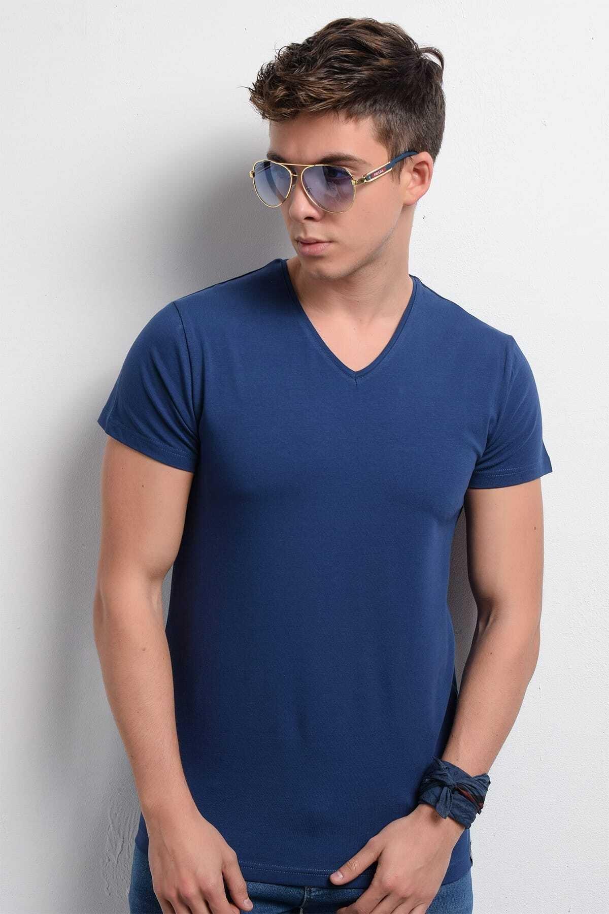 Rodi Rd19ye279973 Indigo Erkek Lycra Süprem V Yaka T-shirt