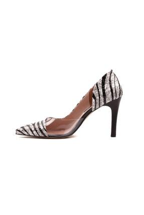 Derinet Klasik Siyah Beyaz Zebra Dekolteli Kadın Stiletto 1