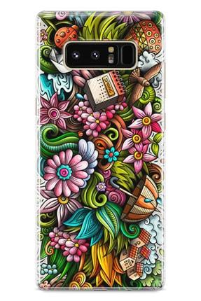 Lopard Samsung Galaxy Note 8 Kılıf Spring Doodle Arka Kapak Koruma Desenli Full Koruyucu 0
