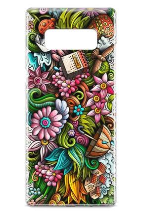 Lopard Samsung Galaxy Note 8 Kılıf Spring Doodle Arka Kapak Koruma Desenli Full Koruyucu 1