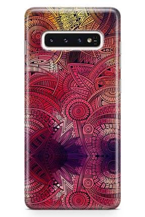 Lopard Samsung Galaxy S10 Plus Kılıf Kırmızı Pembe Motifler Arka Kapak Koruma Desenli Full Koruyucu 0