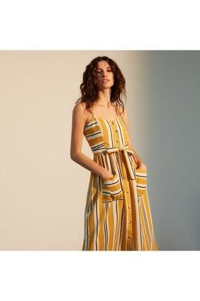 Mudo Kadın Sarı Askılı Kloş Midi Elbise 1217611 1