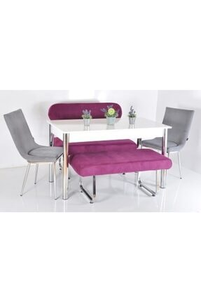 Kaktüs Avm 6 Kişilik Masa Sandalye Takımı Banklı Mutfak Masası Bank Takımı Masa Takımı Mutfak Masası Yemek Masa 0