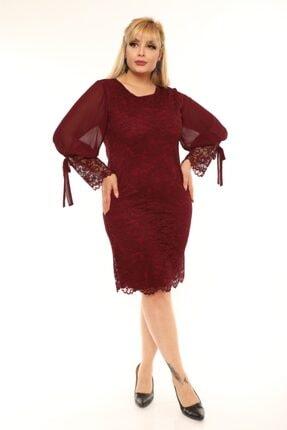 VOLİNAY Kadın Bordo Büyük Beden Güpür Kolu Şifon Abiye Elbise 0