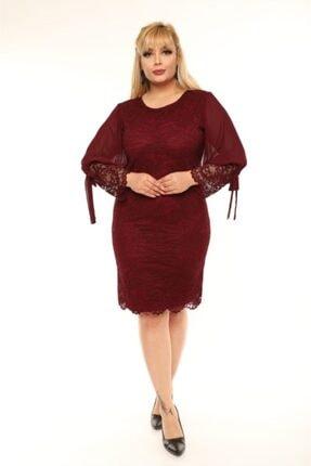 VOLİNAY Kadın Bordo Büyük Beden Güpür Kolu Şifon Abiye Elbise 1