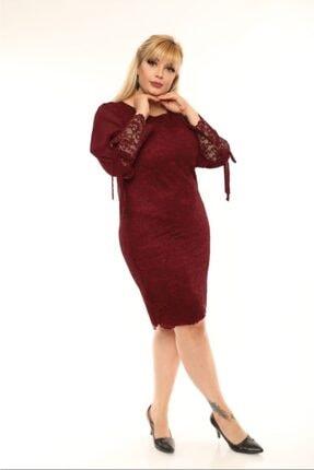 VOLİNAY Kadın Bordo Büyük Beden Güpür Kolu Şifon Abiye Elbise 2