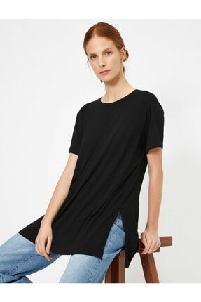 Koton Kadın Siyah Yirtmaç Detayli T-Shirt 0