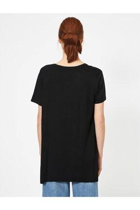 Koton Kadın Siyah Yirtmaç Detayli T-Shirt 3